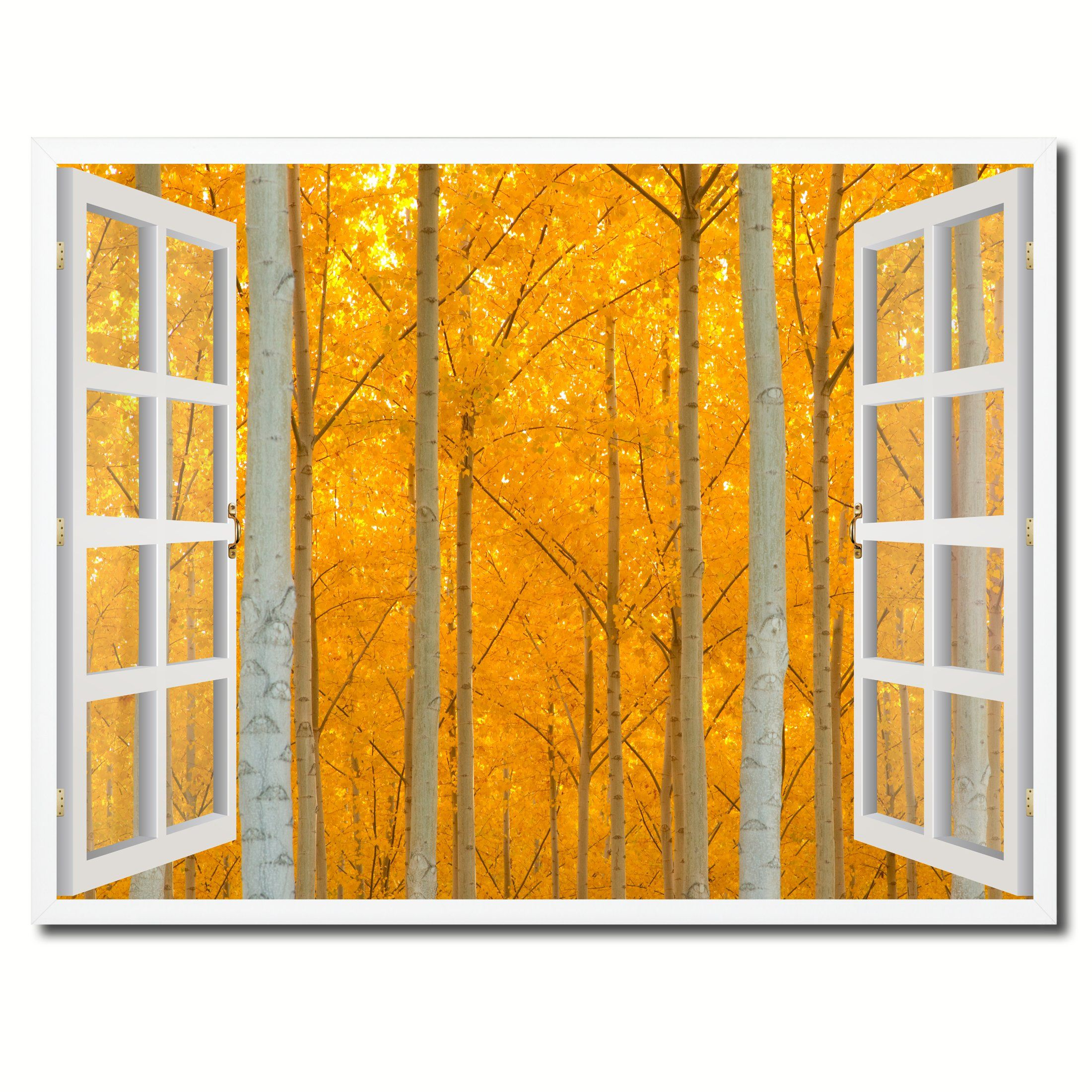 Autumn Yellow Trees Picture French Window Framed Canvas Print Home ...