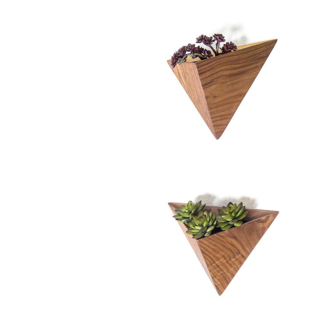 Wall Geometric Planter Box Walnut Or Ash Planters Wall