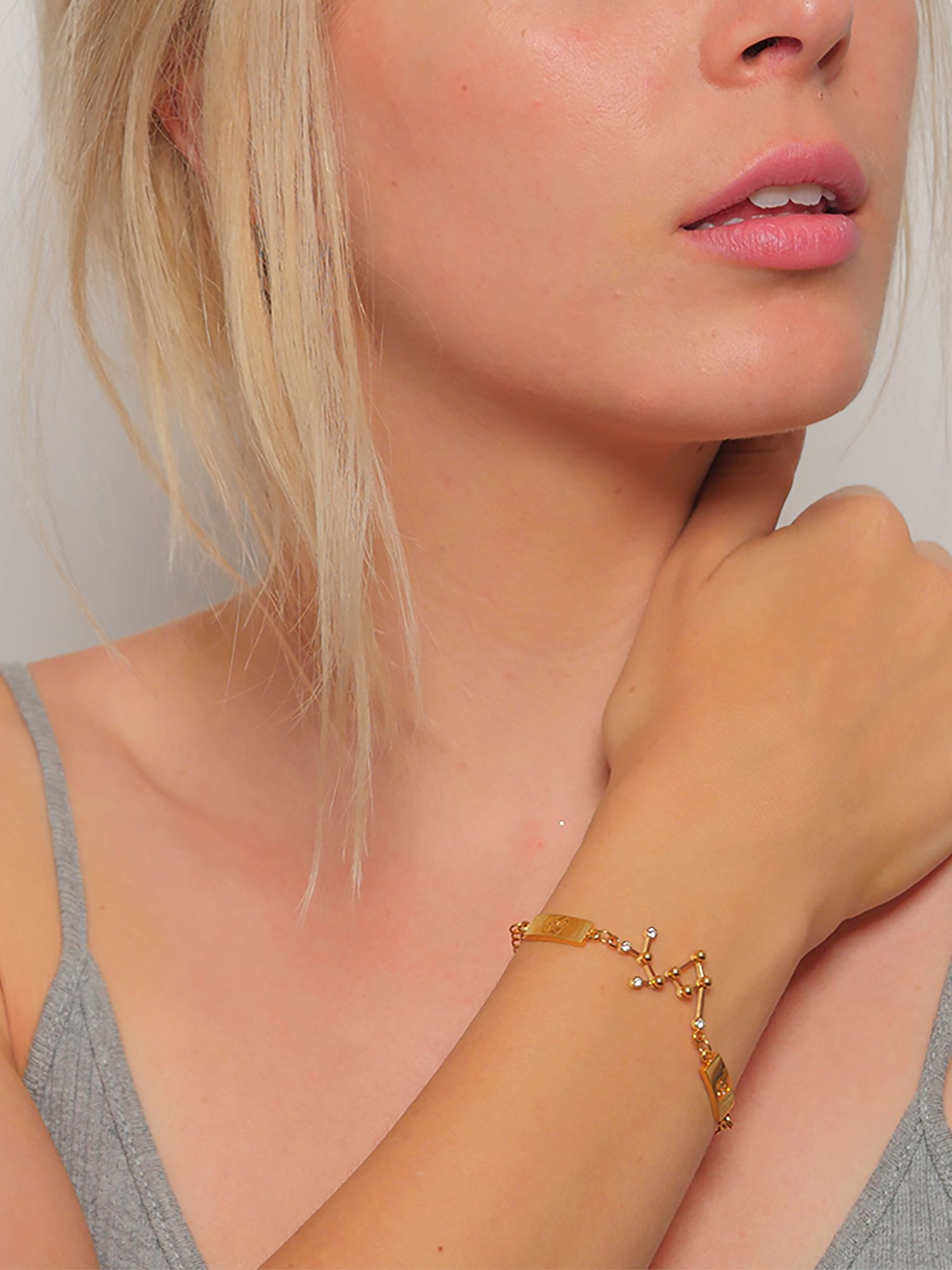 Bracelet Cancer Zodiac charm in silver plated or gold stones Grade