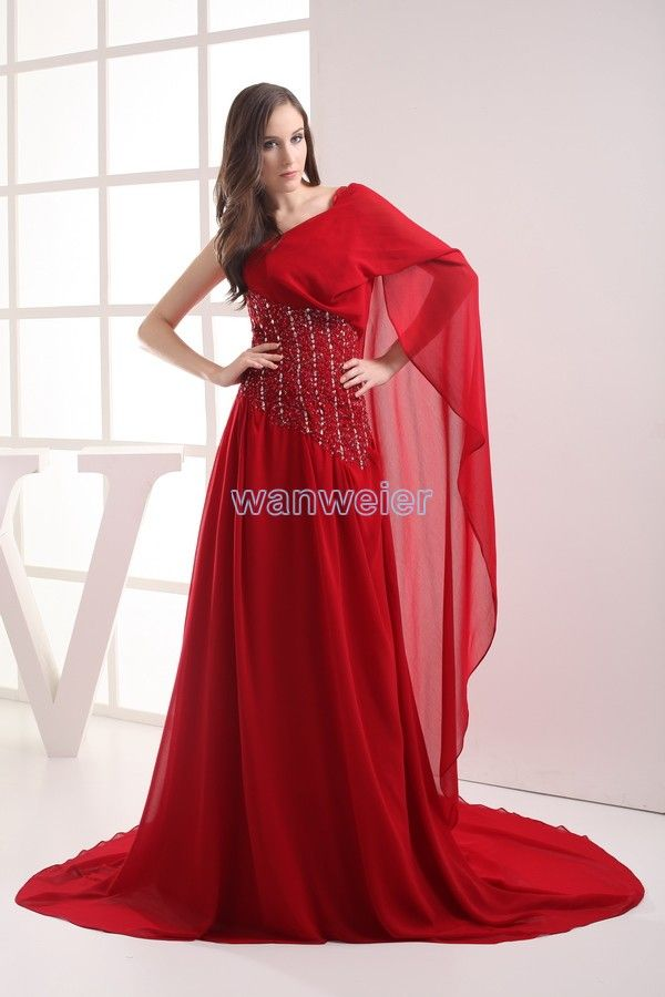 Oblique Red Train Chiffon Plus Size Prom Dress With Beading And