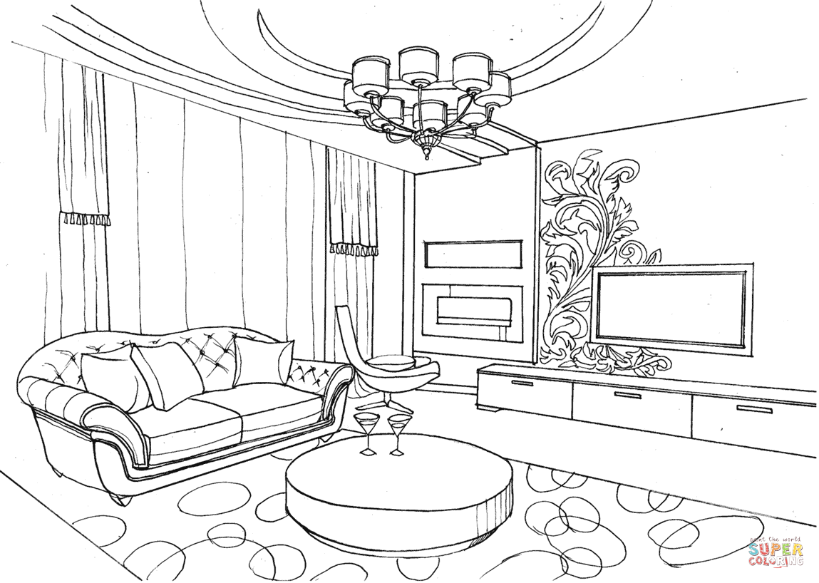 Living Room With Ornament Coloring Page Free Printable Coloring Pages Interior Design Sketches Interior Room Perspective Drawing #ornament #for #living #room