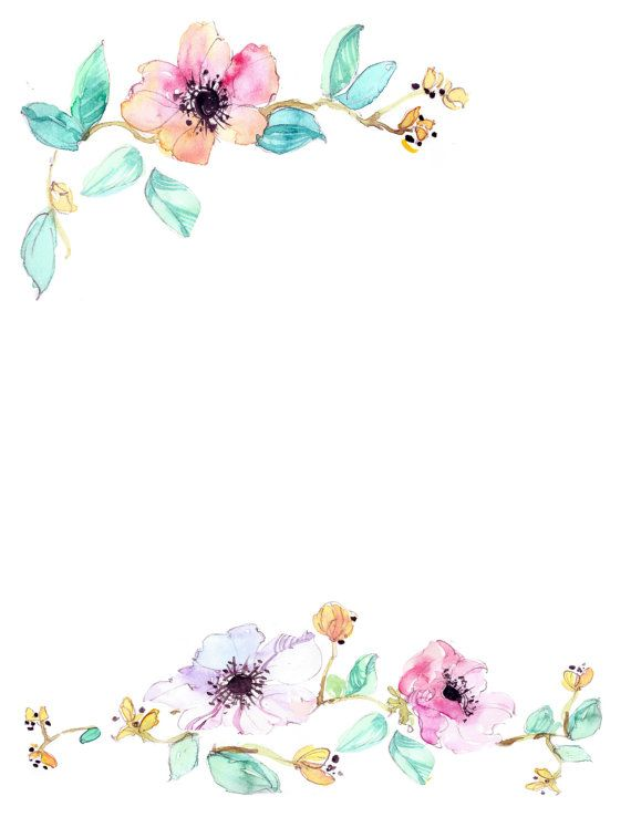 Flower Downloadable Watercolor Floral Border