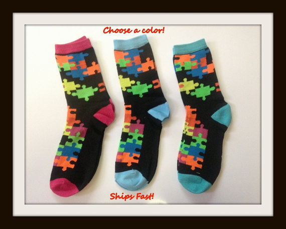 8eba3f6b3f2c Jigsaw Puzzle Socks size 9-11. Puzzle pattern socks. Autism Awareness  puzzle socks. Puzzle Pattern