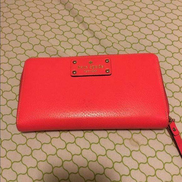 Hot pink kate spade wallet Large hot pink Kate spade wallet rare color kate spade Bags Wallets