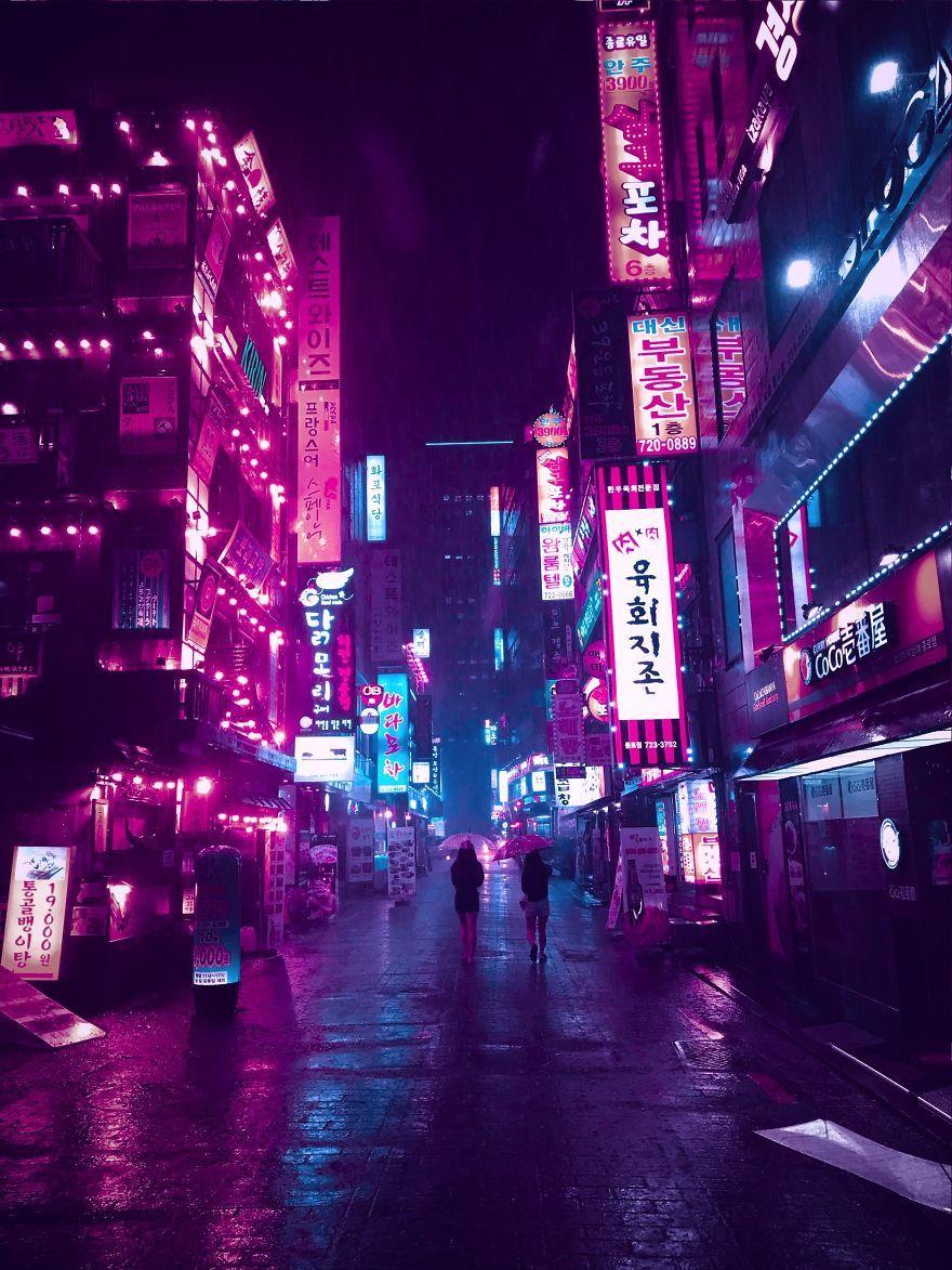 I Shoot Rainy Photos Of Seoul With My Phone Neon Noir Cyberpunk Aesthetic Neon Aesthetic Dark purple aesthetic wallpaper city