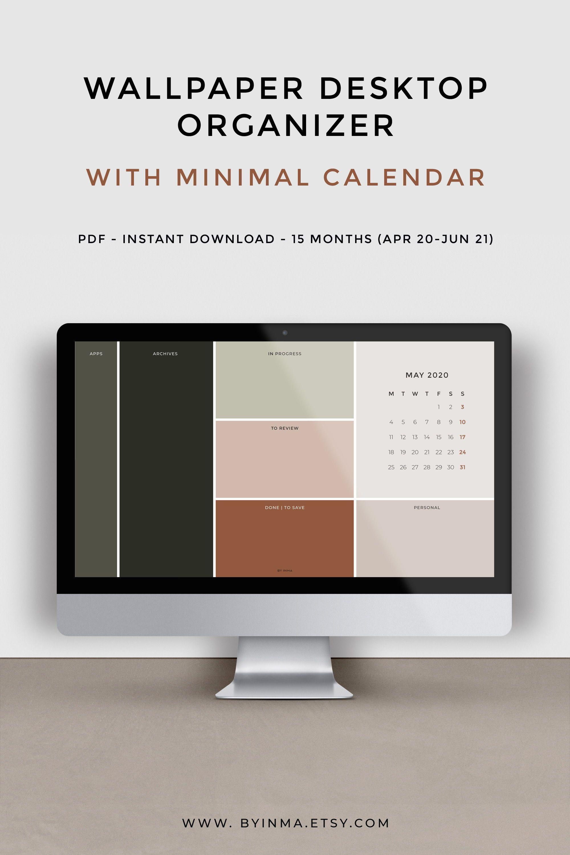 Desktop Wallpaper Organizer With 2020 2021 Calendar Minimalist Desktop Background Desktop Wallpaper Organizer Wallpaper Organizer Minimalist Desktop Wallpaper