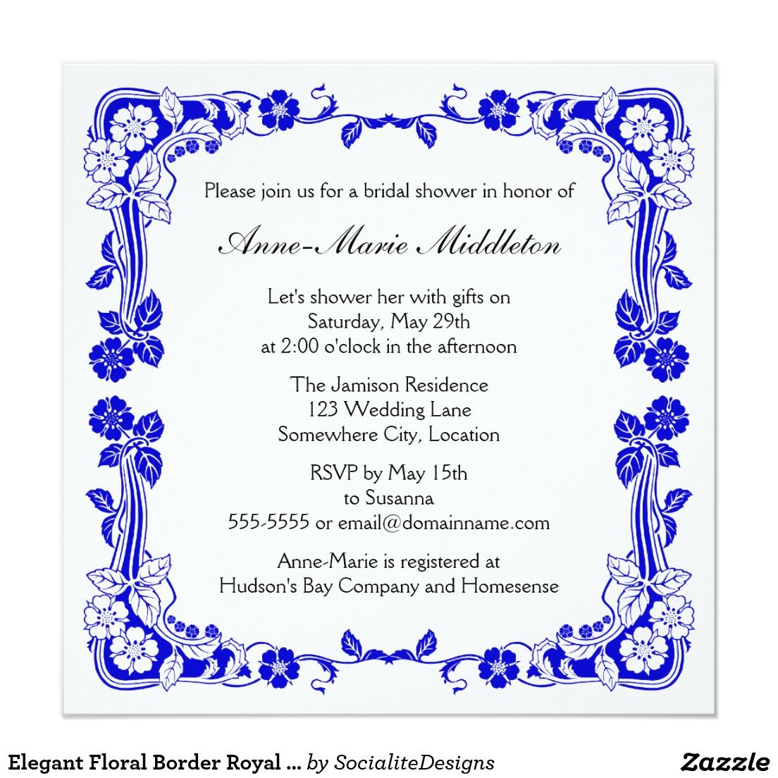 Elegant Floral Border Royal Blue Bridal Shower 13 Cm X 13 Cm Square Invitation Card Blue Bridal Shower Bridal Shower Bridal Party Proposal