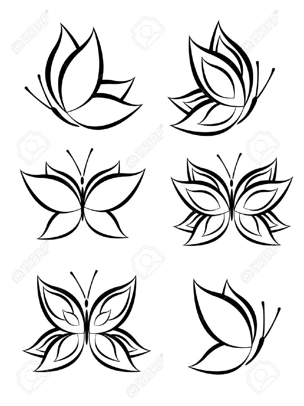 12732078 set of butterfly stock vector butterfly tattoo design