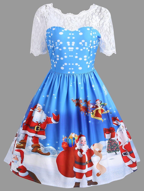 b903cb009ac0 Vintage Christmas Santa Claus Print Lace Insert Dress, BLUE, XL in Vintage  Dresses | DressLily.com