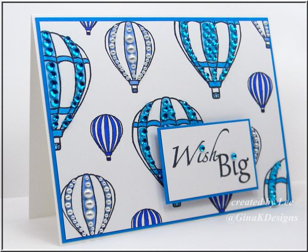 Balloons, Blue and Bling!!! - using Theresa's Up, Up & Away stamp set and lots of fun bling!