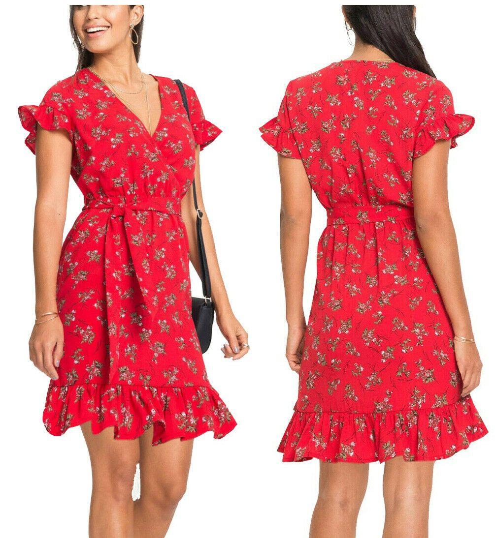 Susses Blumendruck Kleid Wickeloptik Gurtel Gr 42 44 46 Rot Bedruckt Neu 921778 Ebay In 2020 Kleid Wickeloptik Wickelkleid Kleider