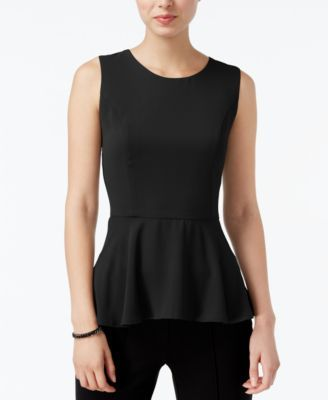 Bar III High-Low Peplum Top, Only at Macy's | macys.com