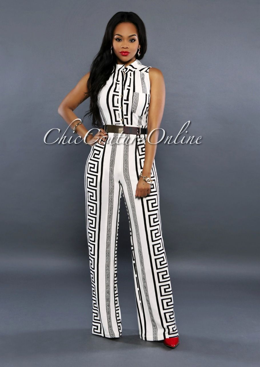 Chic Couture Online - Versa Off-White Black Print Gold Belted Jumpsuit,  (http