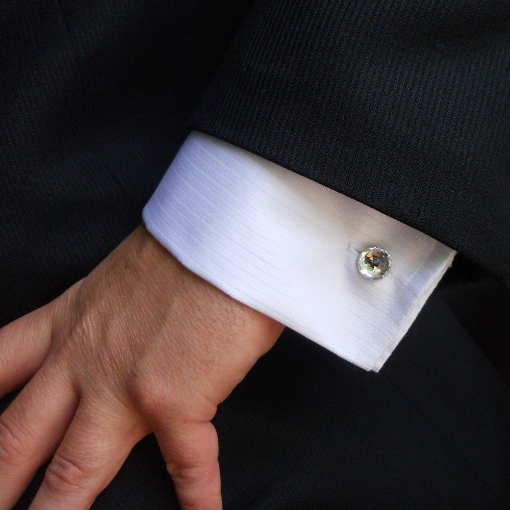For the Groom - Round Swarovski Crystal Mens Cufflink - Silver. $25.00, via  Etsy.   Cufflinks men, Silver cufflinks men, Cufflinks