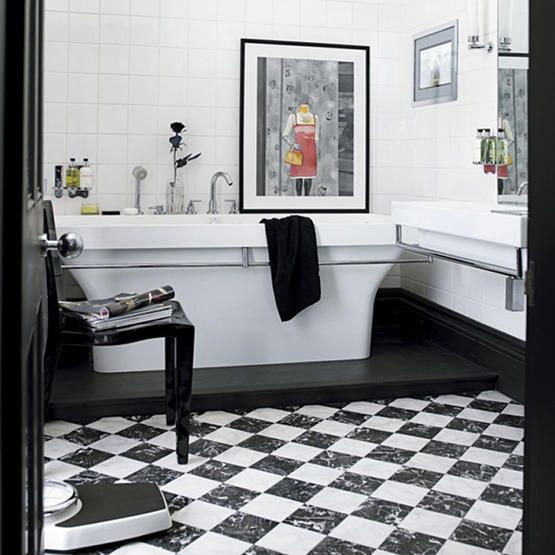 10  images about Black and White Bathroom Design Ideas on Pinterest   Contemporary bathrooms  Double shower curtain and Black and white love. 10  images about Black and White Bathroom Design Ideas on