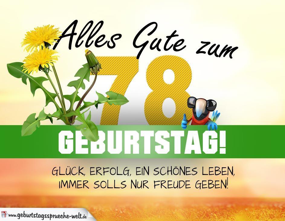 78 Geburtstag Geburtstagskarte Alles Gute Mit Schonem Spruch