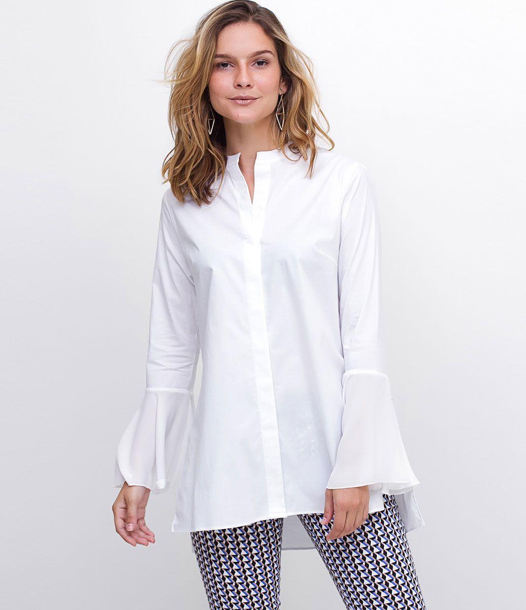 def7e5473 Camisa feminina Manga longa sino Com gola padre Alongada Marca   A-Collection Tecido  Tricoline Modelo veste tamanho  36 Medidas da Modelo   Altura  1.76 ...