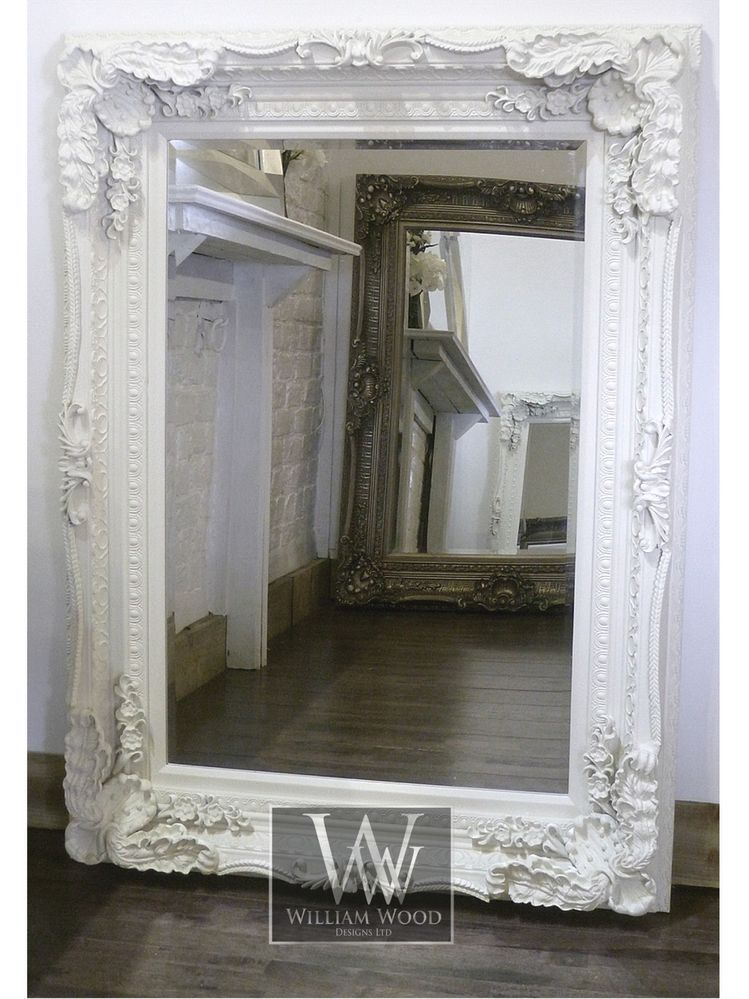 36 X 60 Mirror Part - 48: Chelsea Cream Ornate Rectangle Antique Wall Mirror 60 X 48 X Large