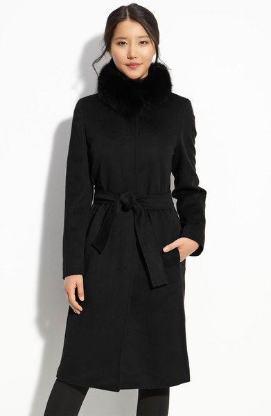 4a73025f3 Weekend By Maxmara Black Max Mara Studio Wool Coat with Fox Fur Collar