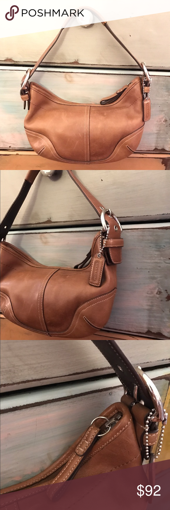 442e4888114 Coach Light Brown Leather Bag This is a very elegant and a very cute bag.  Genuine leather. Metallic parts are in silver tone. One zipper pocket.  Adjustable ...
