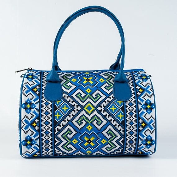 White and Blue Printed Handbag for Ladies, Ethnic Ornament Bag, Embroidery Design Handbag, Top Handle Women Bags, Barrel Bag for Women, 5027