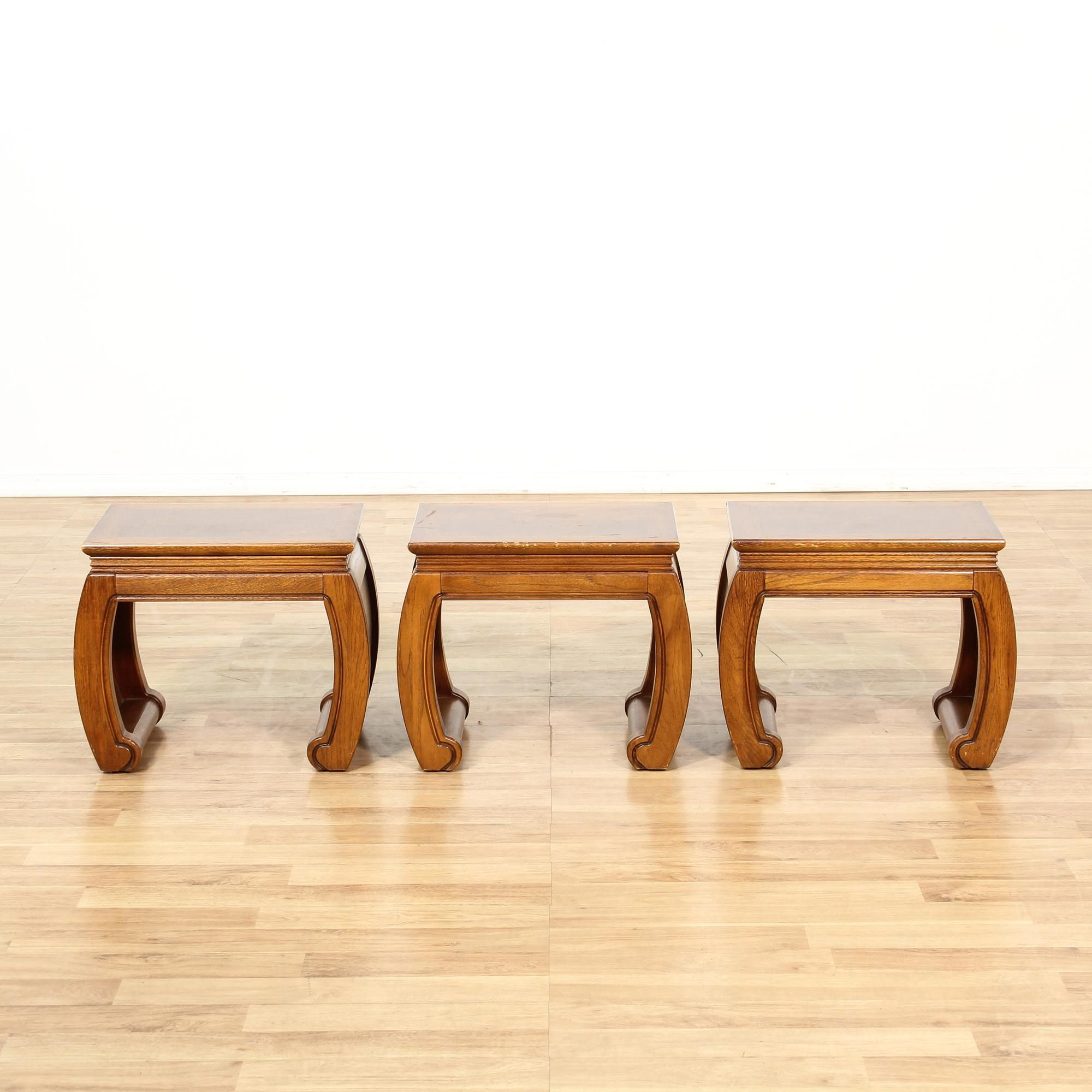 Set Of 3 Mid Century Chinese End Tables