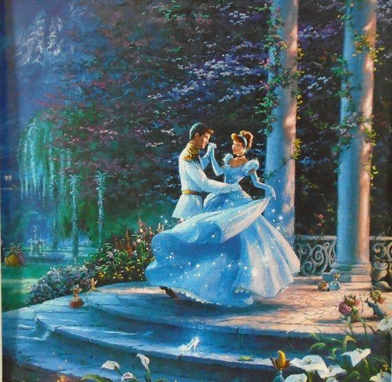 Thomas Kinkade  DISNEY  CINDERELLA  Dancing in the Moonlight | Etsy