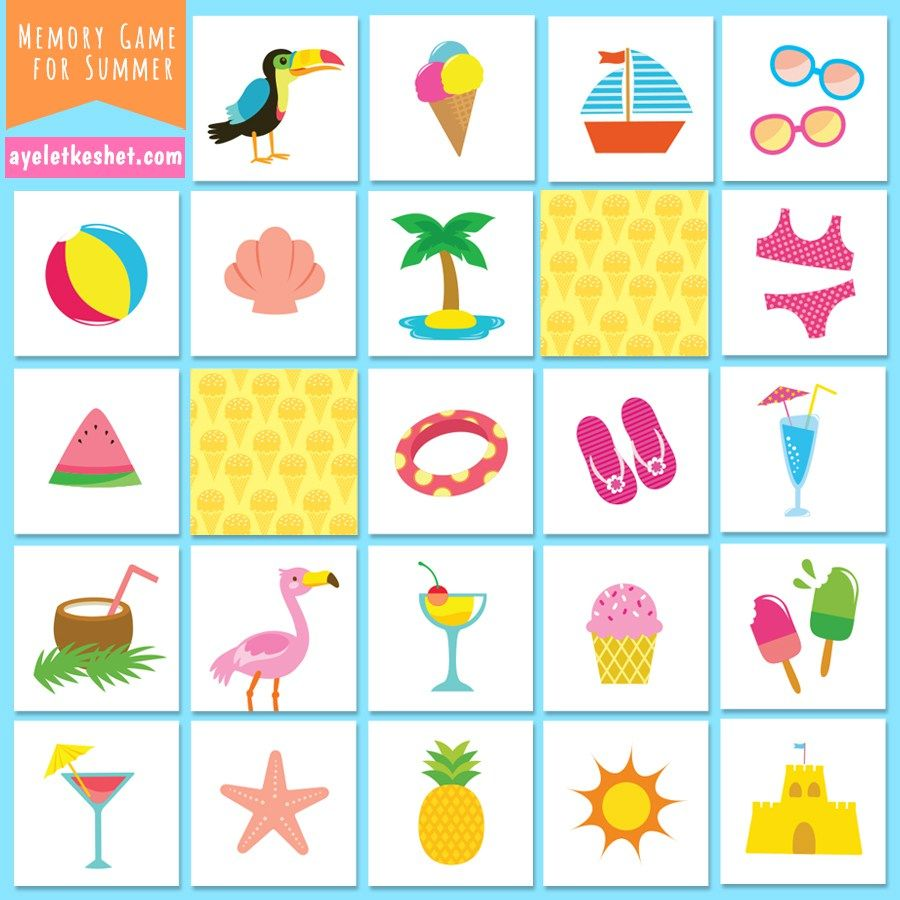 image regarding Printable Matching Games referred to as Free of charge Printable Memory Activity for Young children With Visuals for Summer time