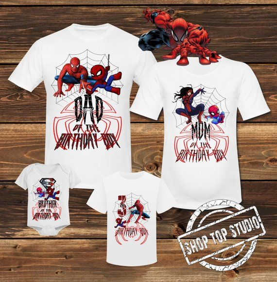 bf33bc23 Spiderman Birthday White Family Shirt Spider Man Birthday White T shirt  Spiderman Family Party Spid