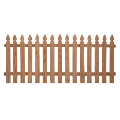 1 In X 4 In 42 In X 8 Ft Cedar Spaced French Gothic Fence Panel 63665 At The Home Depot Enclosure F Picket Fence Panels Wood Fence Privacy Fence Panels