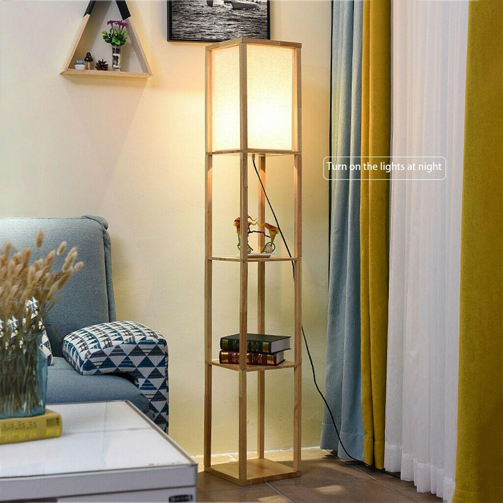 Details About Modern Shelf Floor Lamp Soft Light 4 Tier Open