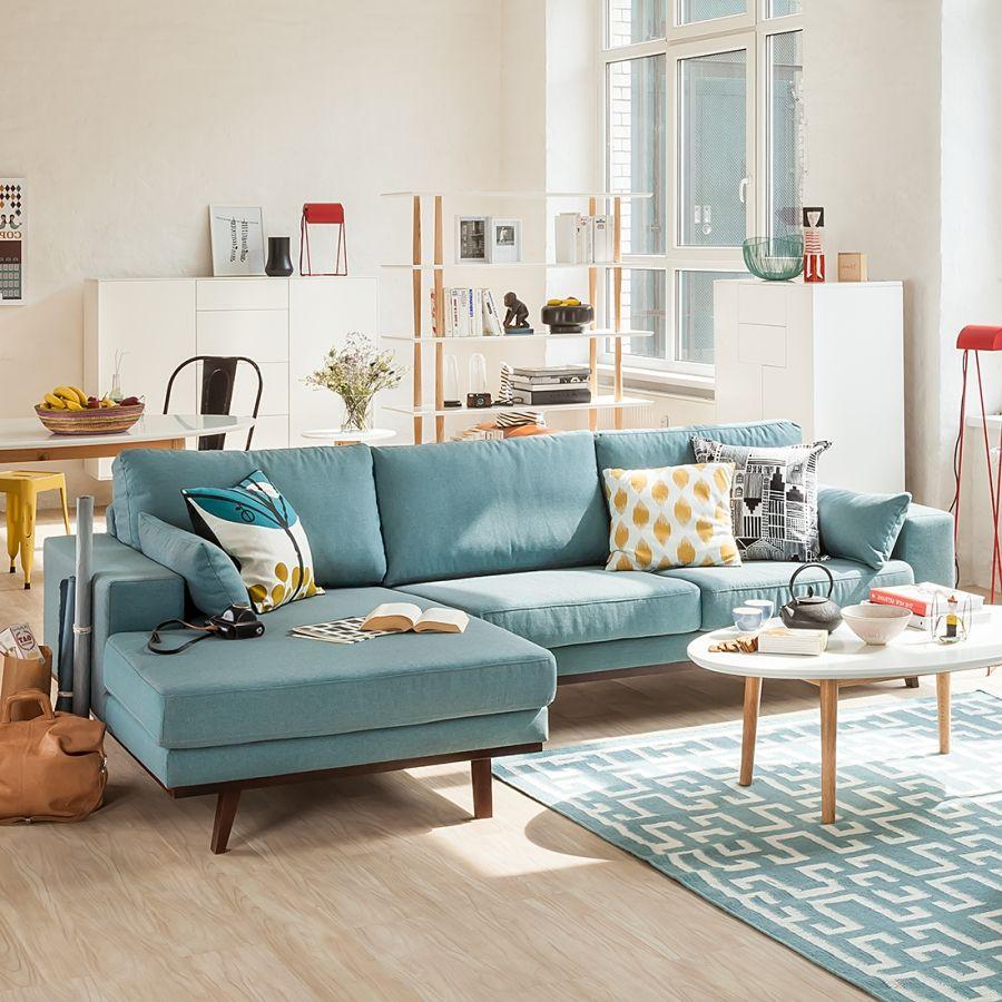 Ecksofa billund i webstoff meublement wohnzimmer sofa - Esszimmer wohnzimmer aufteilung ...