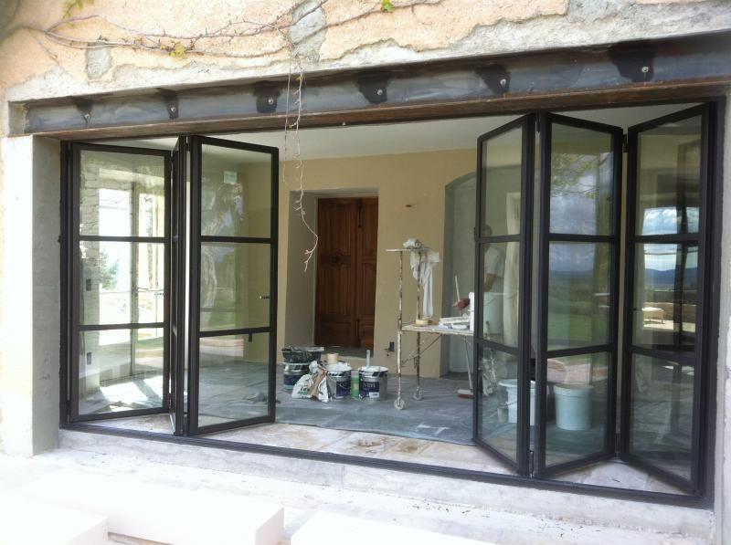 Porte Fenêtre Accordéon Vantaux Repliables - Fabrication Porte Fenêtre  Acier / Inox