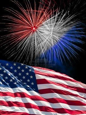 Stock Photo Blue Fireworks Flag Photo Red And White
