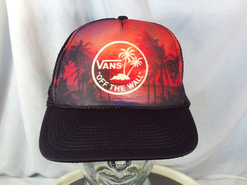 vintage Rare Vans Shoes Off The Wall Palm Trees Sunset Black Trucker Cap Hat   fashion f340d400f654