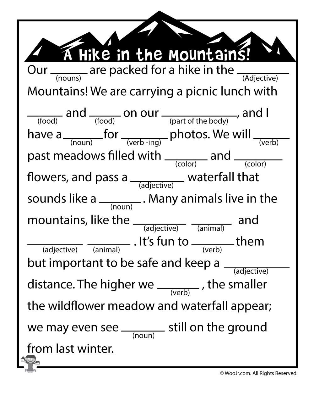 It is a picture of Clever Camping Mad Libs Printable