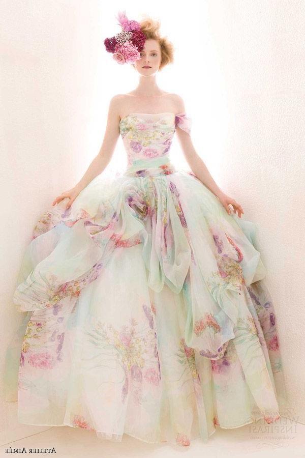 Colorful wedding dresses via pinkous - http://www.weddideas.com ...