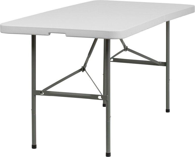 30-Inch Width by 60-Inch Length Plastic Bi-Fold Folding Table-30-Inch Width by…