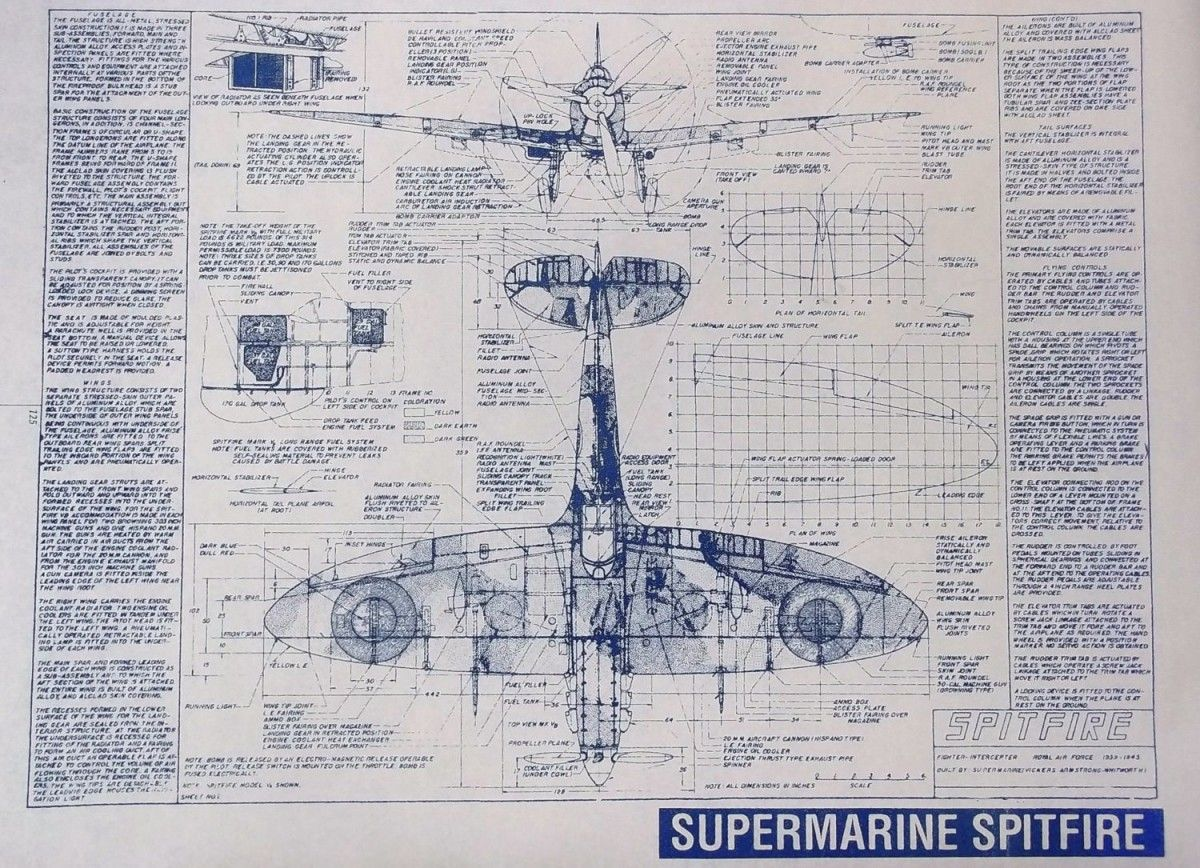 Supermarine Spitfire Blueprints | Supermarine spitfire, De havilland ...