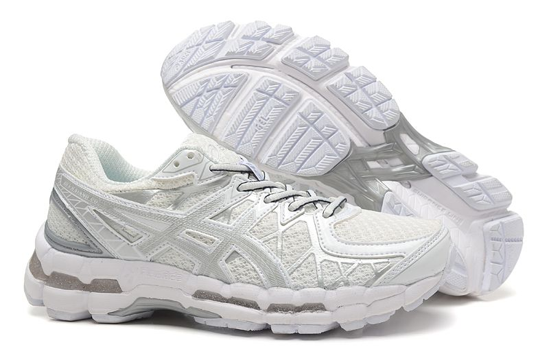 Asics Gel Kayano 20 Mens Running Shoes White Grey Silver