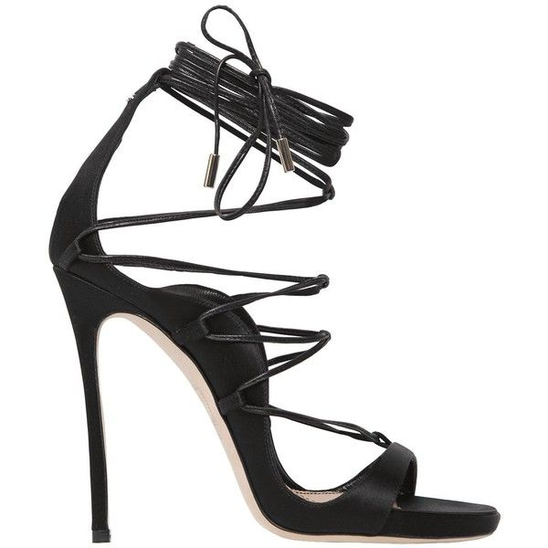 e3d5a0d991e7 Dsquared2 Women 120mm Riri Lace-up Satin Sandals (2.345 BRL) ❤ liked on  Polyvore featuring shoes