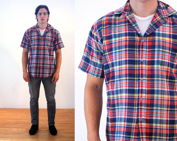 ffb8f48c 80s Red Plaid Shirt M, Men's Vintage Short Sleeve Navy Yellow Madras Style  Cotton Poly Gentleman's R
