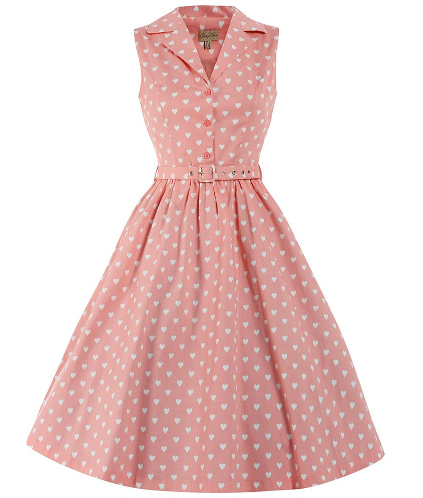 Lindy Bop 50s Matilda Heart Shirt Dress Dress Pink | Make ...