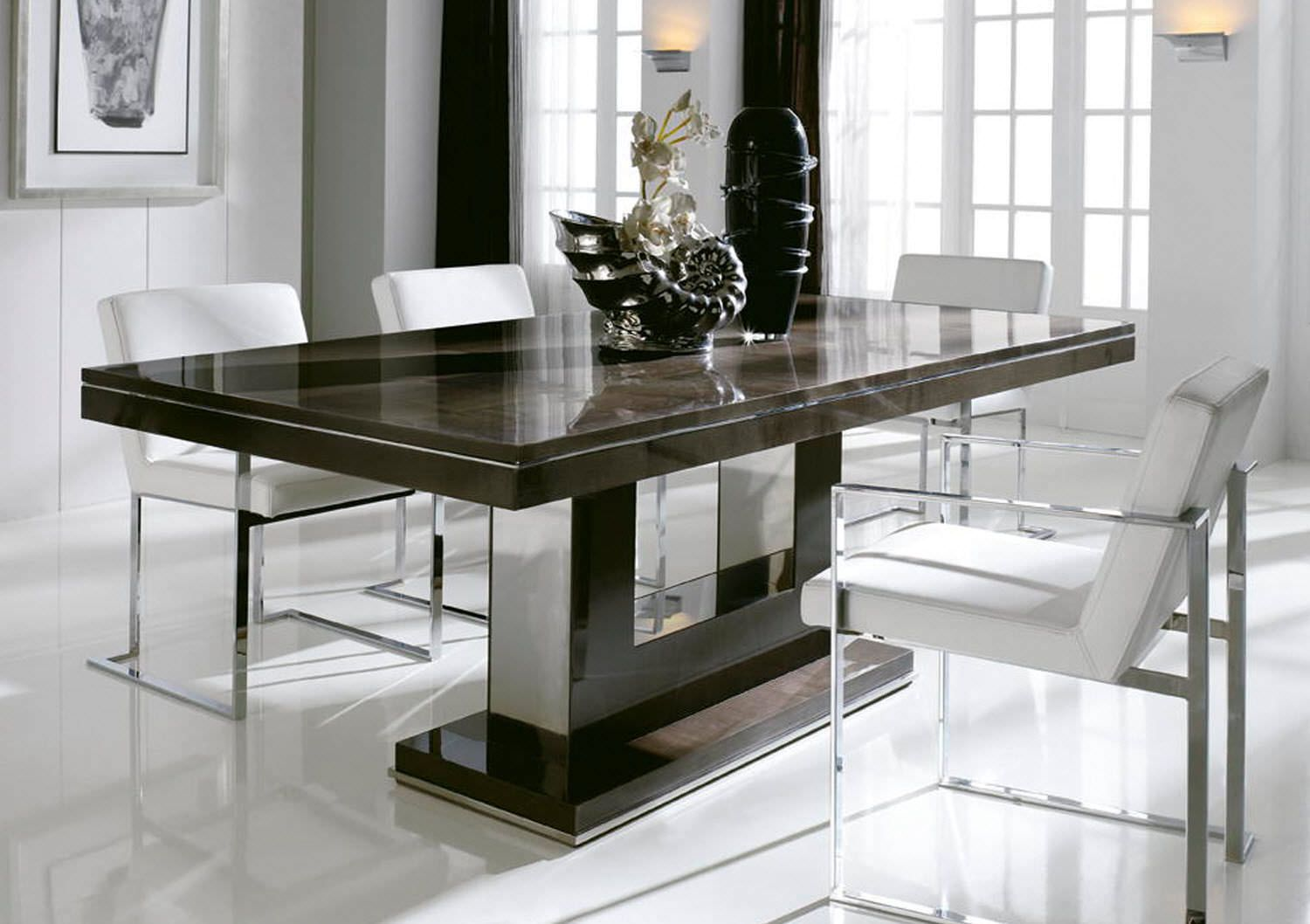 Interesting modern dining table dining room pinterest for Dining table top decor