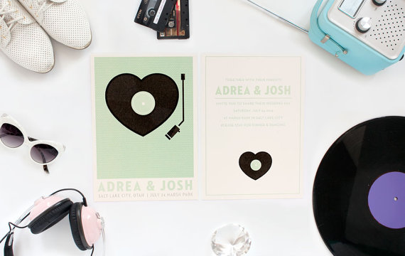 Modern Wedding Invitation  Retro Record Player Set by ElloThere