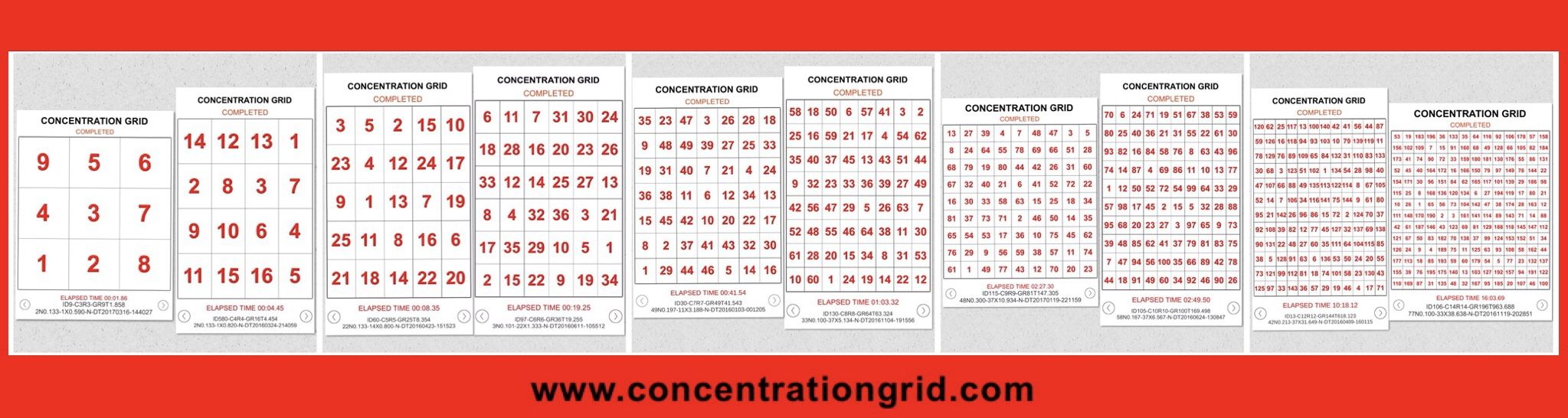 CONCENTRATION GRID web/mobile device app imple… Skill