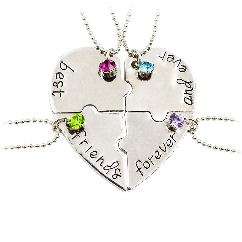 4 Piece Heart Best Friends Forever and Ever Necklaces ...