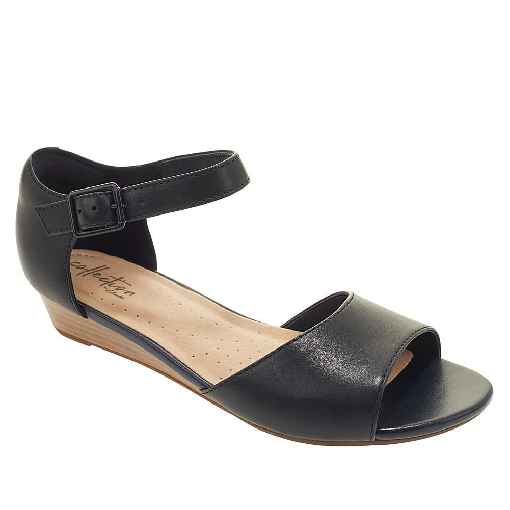 39ac82d59e Collection by Clarks Abigail Jane Leather Wedge Sandal - Black in ...