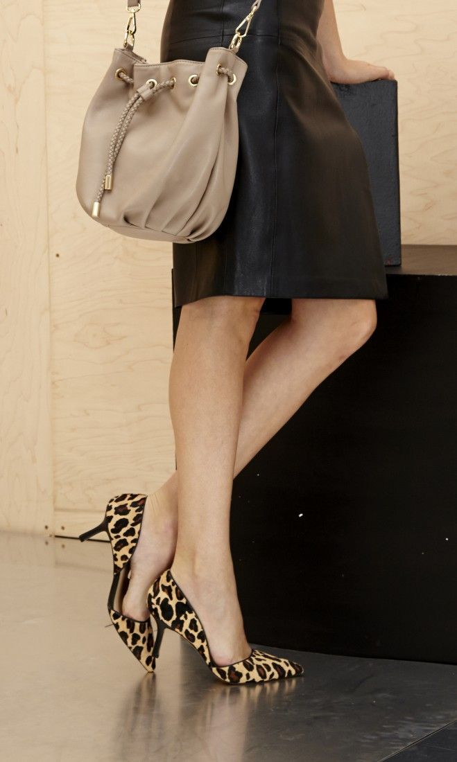 d'Orsay mid heel with a pointed toe and ultra-walkable heel.
