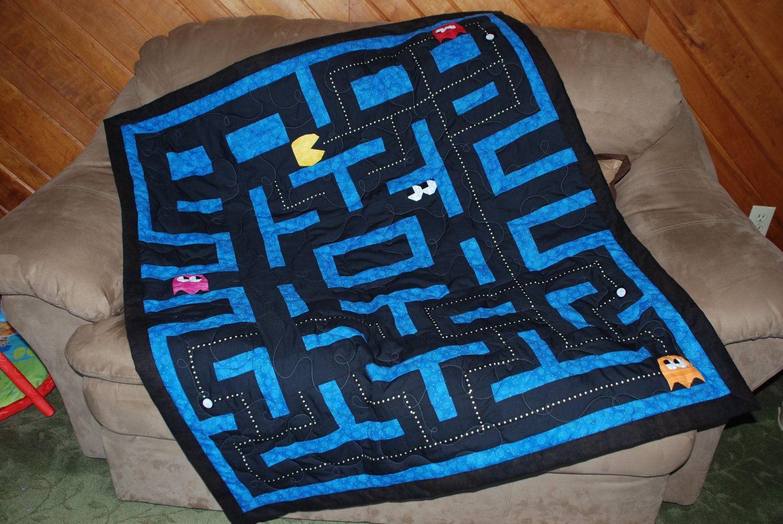 Pac-man game quilt, via Etsy.